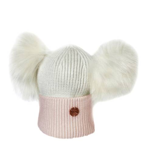 Look Like Cool Newborn Pink/White Cashmere Pom Pom Beanie Hat