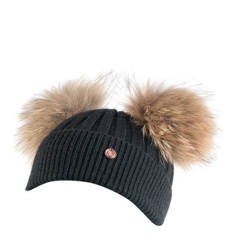 Look Like Cool Black Cashmere Pom Pom Beanie Hat