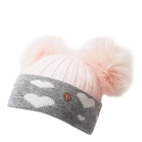 Look Like Cool Pink/Grey Hearts Cashmere Pom Pom Beanie Hat