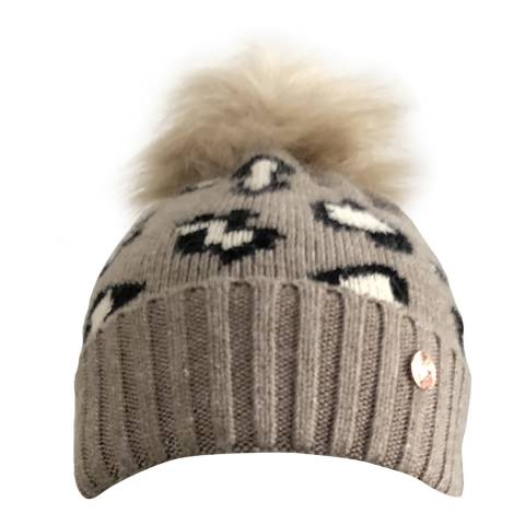 Look Like Cool Leopard Luxe Cashmere Pom Pom Beanie Hat