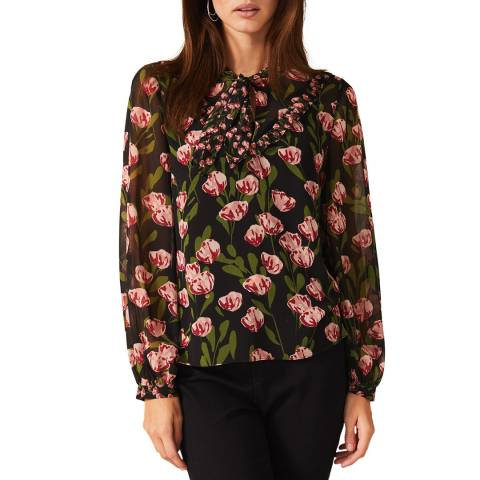 Phase Eight Black Valentina Floral Blouse