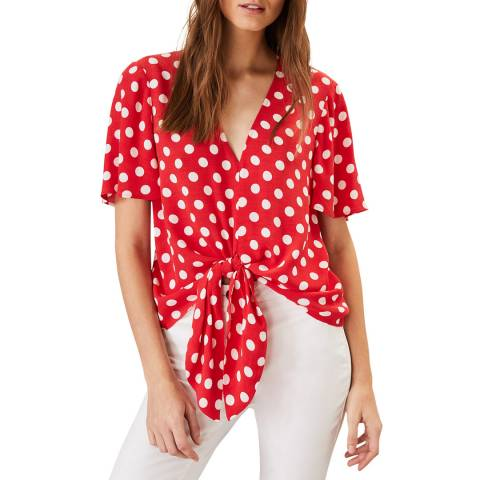 Phase Eight Red Marillyn Spot Blouse