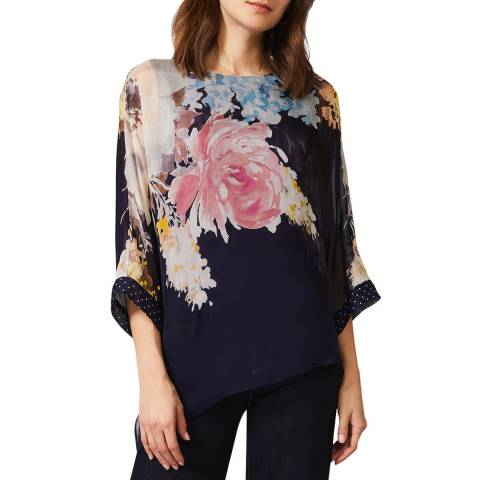 Phase Eight Navy Blanche Floral Silk Blouse