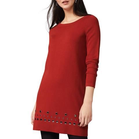 Phase Eight Rust Selika Stud Hem Dress
