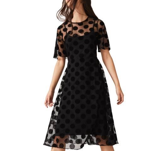 Phase Eight Black Georgette Spot Dress