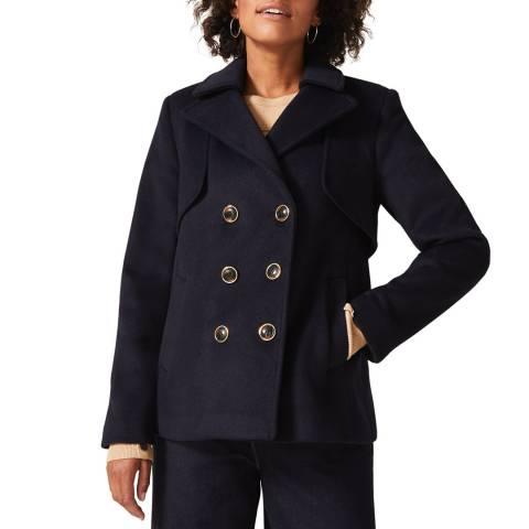 Phase Eight Navy Paula Wool Blend Pea Coat