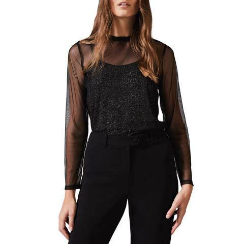 Phase Eight Black Nadire Shimmer Top
