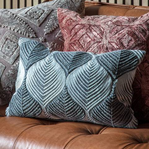 Gallery Wave Tonal Embroidered Cushion, Grey