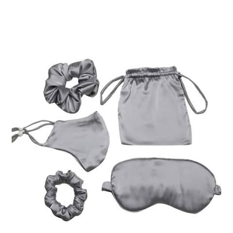 JayLey Collection Grey Luxury Silk Blend Travel Set