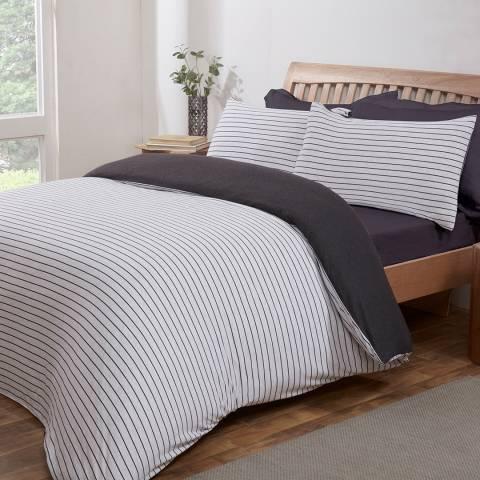 Sleepdown Jersey Stripe Double Duvet Cover Set, Grey/Charcoal
