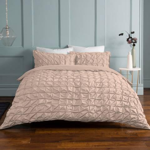 Sleepdown Rouched Double Duvet Cover Set, Blush