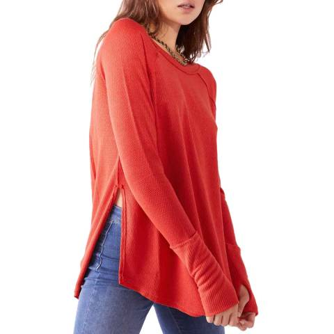Free People Red Snowy Thermal Jumper