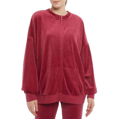 Juicy Couture Red Oversized Cotton Blend Track Top