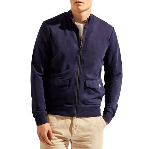 Hackett London Navy Terry Full Zip Jumper