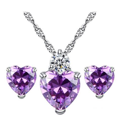 Ma Petite Amie Silver Plated/Purple Earrings and Necklace Set with Swarovski Crystals