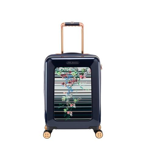 Ted Baker Navy Pergola Stripe Take Flight Small 4 Wheel Suitcase
