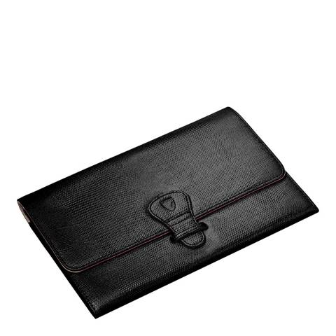 Aspinal of London Black Lizard Classic Travel Wallet