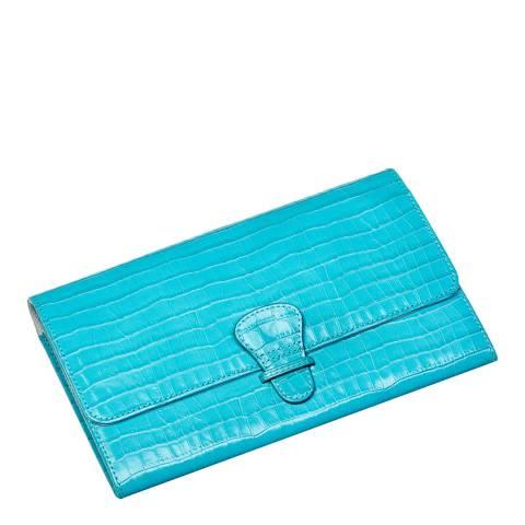 Aspinal of London Aqua Croc Classic Travel Wallet