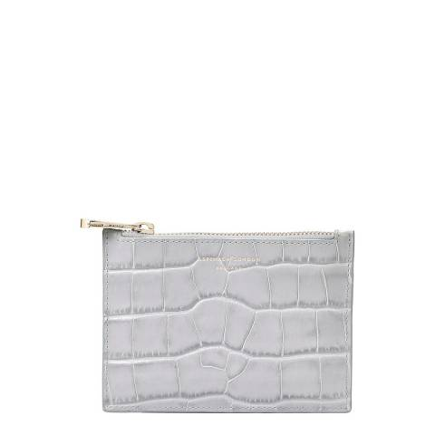 Aspinal of London Dove Grey Croc Essentials Small Flat Pouch