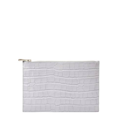 Aspinal of London Dove Grey Croc Essential Flat Pouch