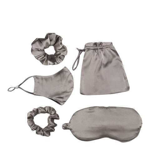 JayLey Collection Mocha Silk Blend Face Mask, Eye Mask & Scrunchie Set