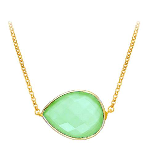 Liv Oliver 18K Gold Chalcedony Pear Necklace