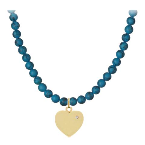 Liv Oliver 18K Gold Turquoise Love Drop Necklace
