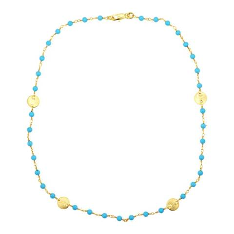 Liv Oliver 18K Gold Turquoise Disc Necklace