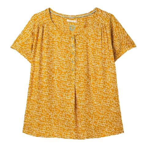 White Stuff Yellow Short Sleeve Blouse