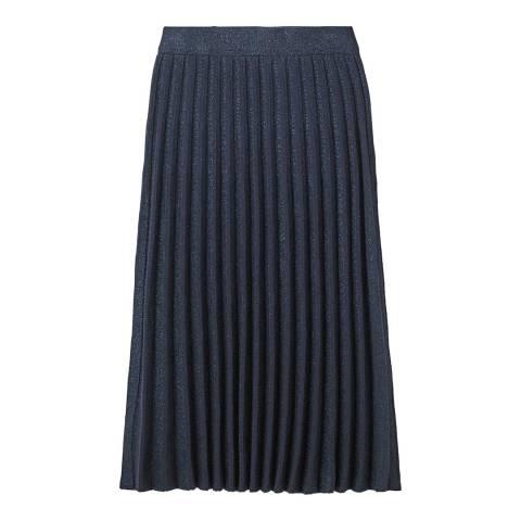 White Stuff Navy Stem Shimmer Pleated Skirt
