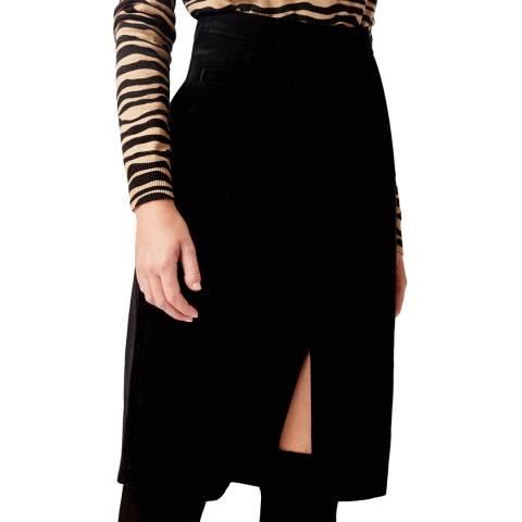 Hobbs London Black Arnelle Velvet Skirt