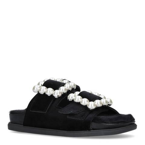 Carvela Black Velvet Candy Flat Sandals