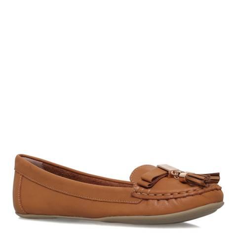 Carvela Tan Leather Leaf Flat Shoes