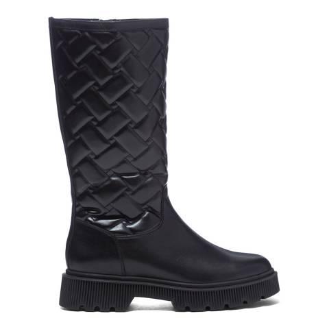 Kurt Geiger Black Leather Baton High Leg Boots