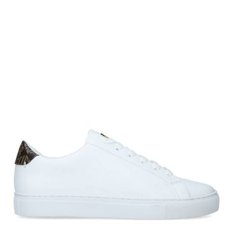 Kurt Geiger White/Brown Leather Lane KGL Sneakers