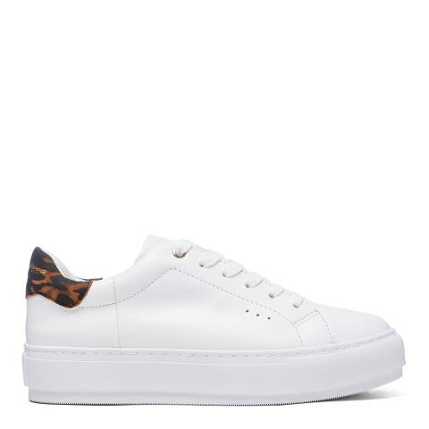 Kurt Geiger White/Leopard Leather Laney Flatform Sneakers