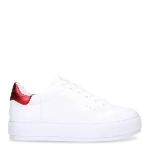Kurt Geiger White/Red Leather Laney Flatform Sneakers