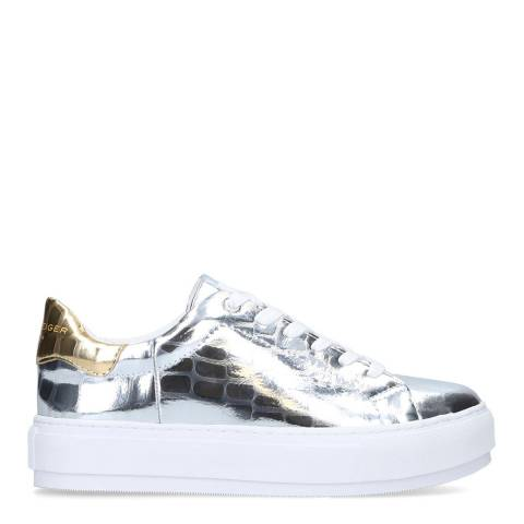 Kurt Geiger Silver Croc Print Laney Flatform Sneakers