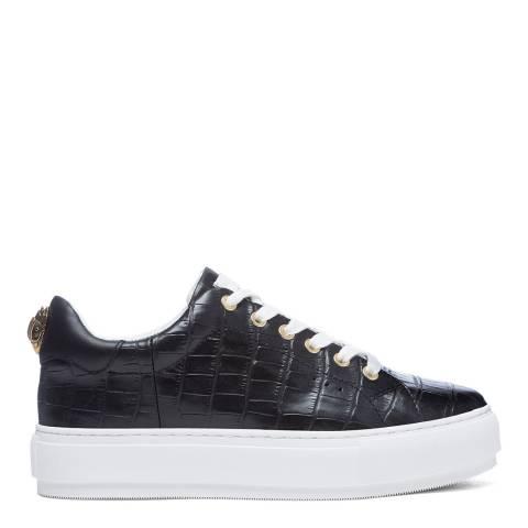 Kurt Geiger Black Croc Print Laney Eagle Sneakers