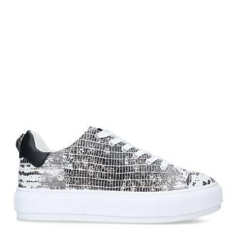 Kurt Geiger Black/White Lizard Print Laney Eagle Sneakers