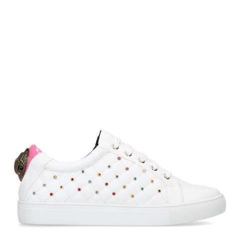 Kurt Geiger White/Pink Ludo Stud Sneakers