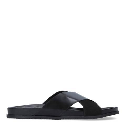 Kurt Geiger Black Leather Logan Flat Sandals
