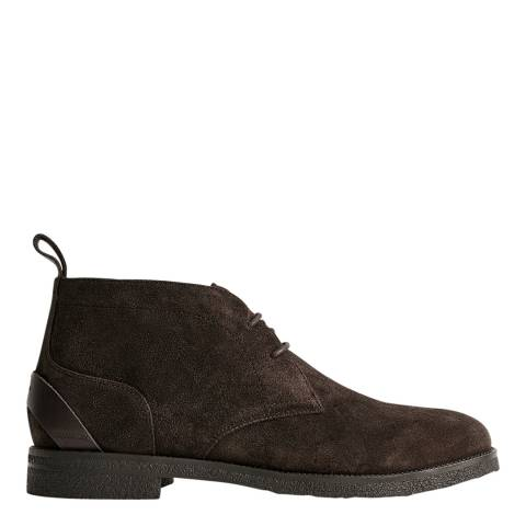 Reiss Dark Brown Reeves Suede Desert Boots