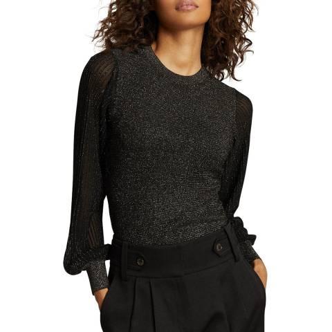 Reiss Black Stella Metallic Knit Top
