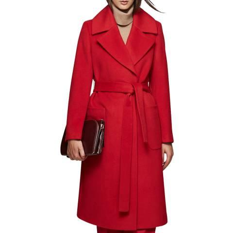 Reiss Red Chiltern Longline Wool Coat