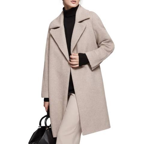 Reiss Pale Grey Cabe Wool Blend Coat