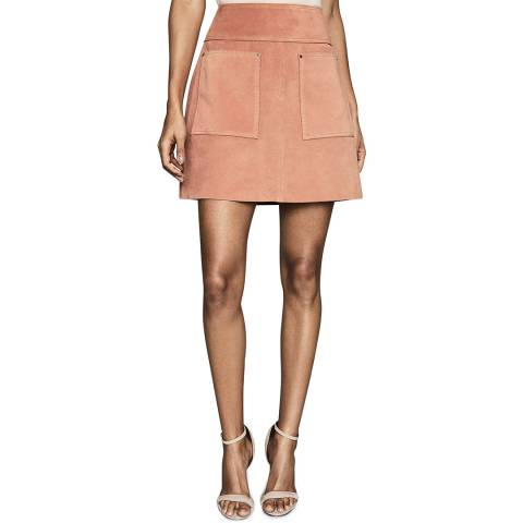Reiss Pink Elm Suede Mini Skirt