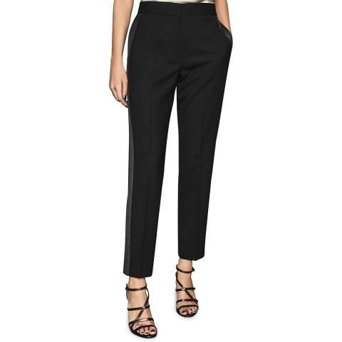 Reiss Black Hailey Wool Blend Tux Trousers