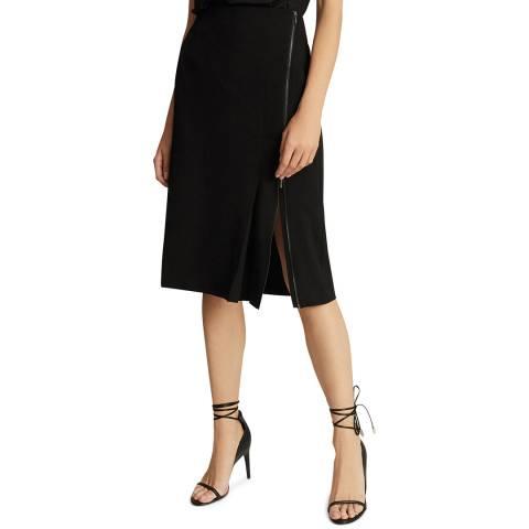 Reiss Black Vanessa Zip Pencil Skirt