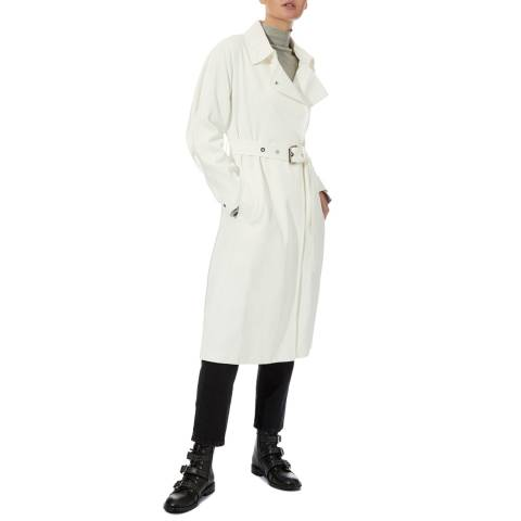 Reiss Ivory Florance Cotton Blend Trench Coat